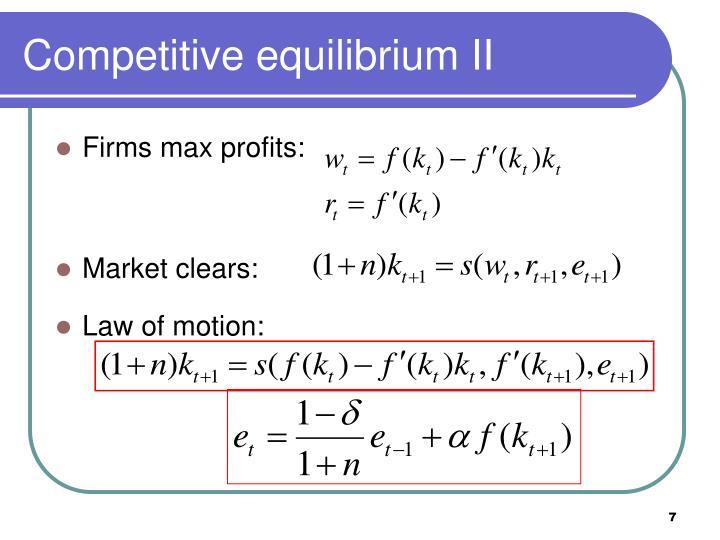 Competitive equilibrium II