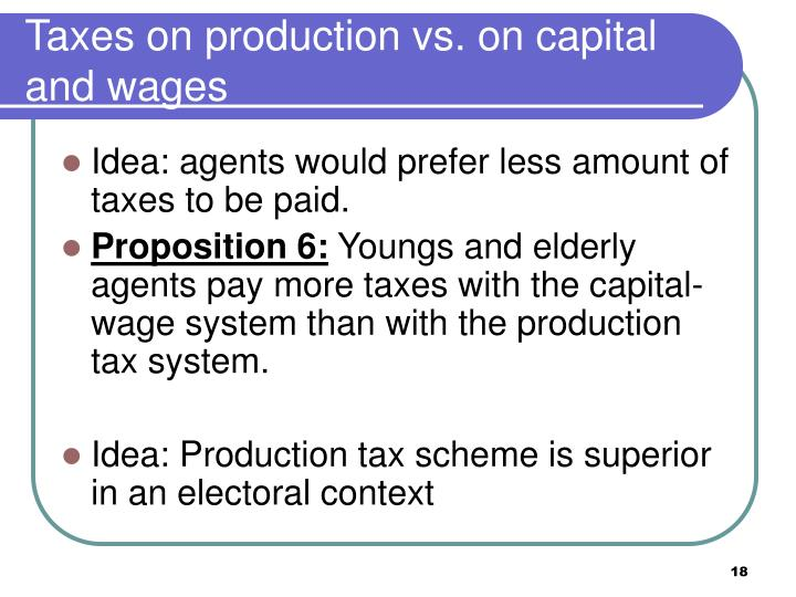 Taxes on production vs. on capital and wages