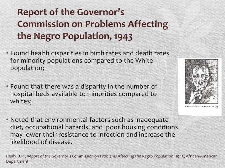 Found health disparities in birth rates and death rates for minority populations compared to the White