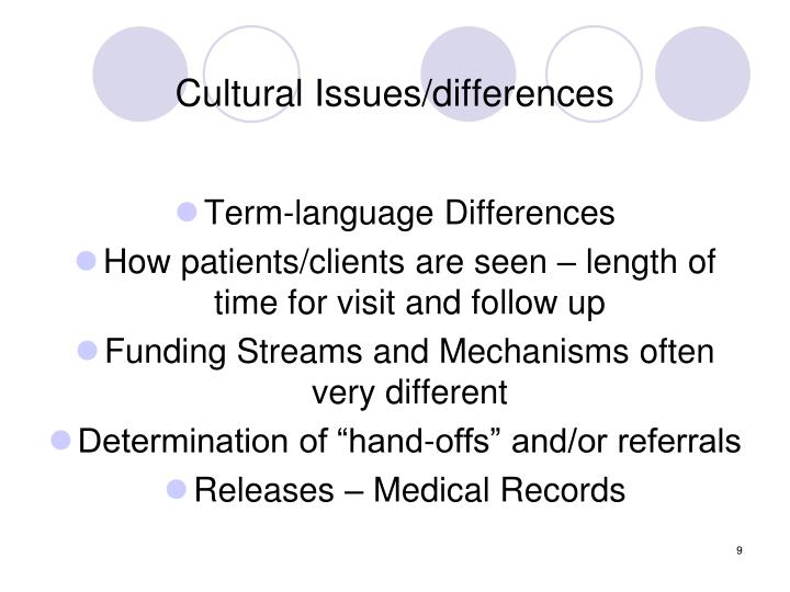Cultural Issues/differences