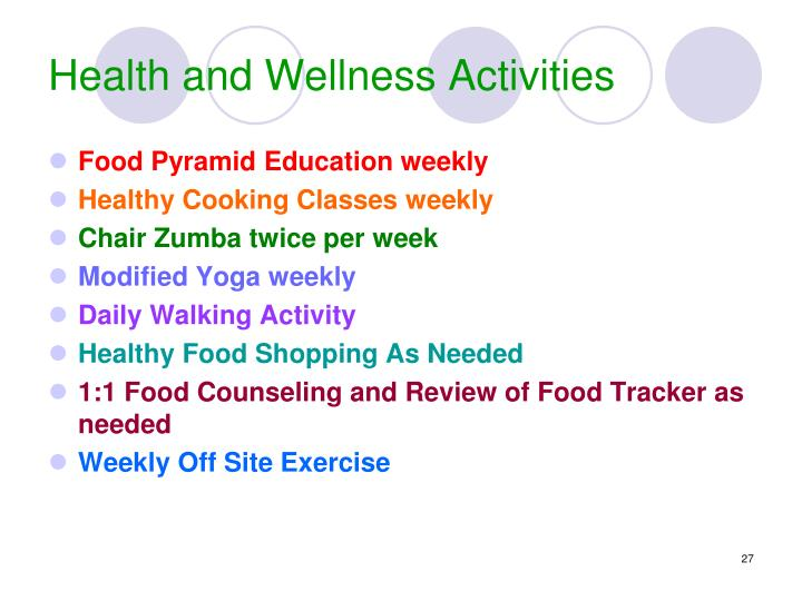 Health and Wellness Activities