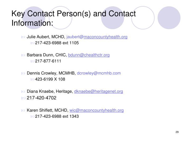 Key Contact Person(s) and Contact Information: