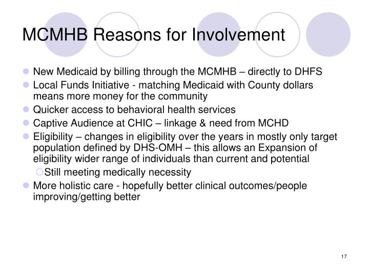 MCMHB Reasons for Involvement