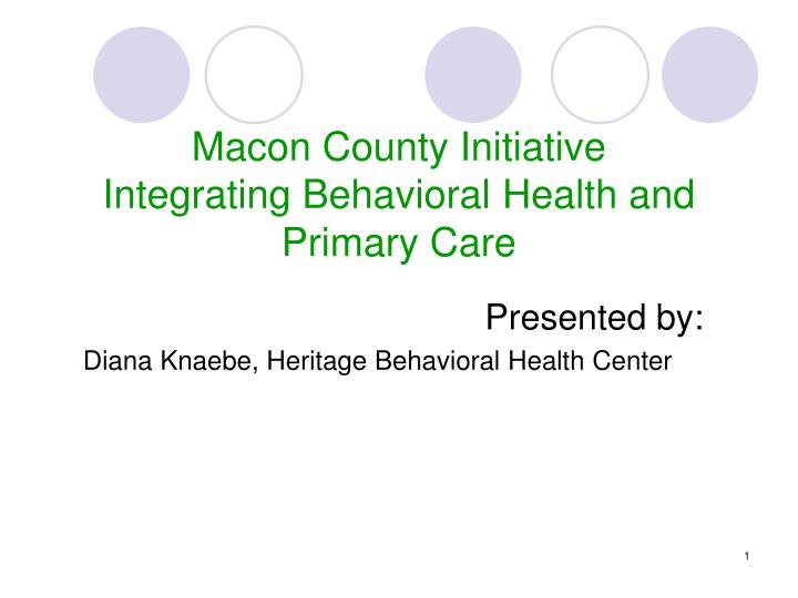 Presented by diana knaebe heritage behavioral health center