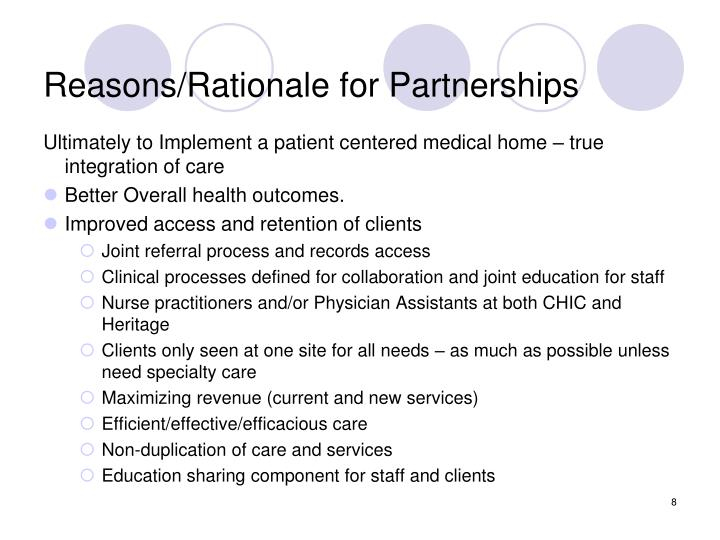 Reasons/Rationale for Partnerships
