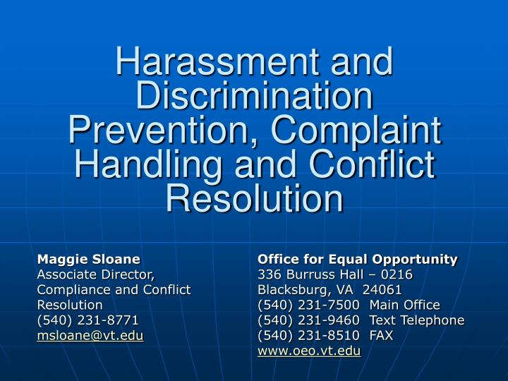 harassment and discrimination prevention complaint handling and conflict resolution n.