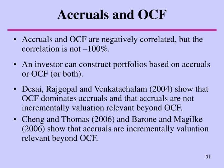 Accruals and OCF