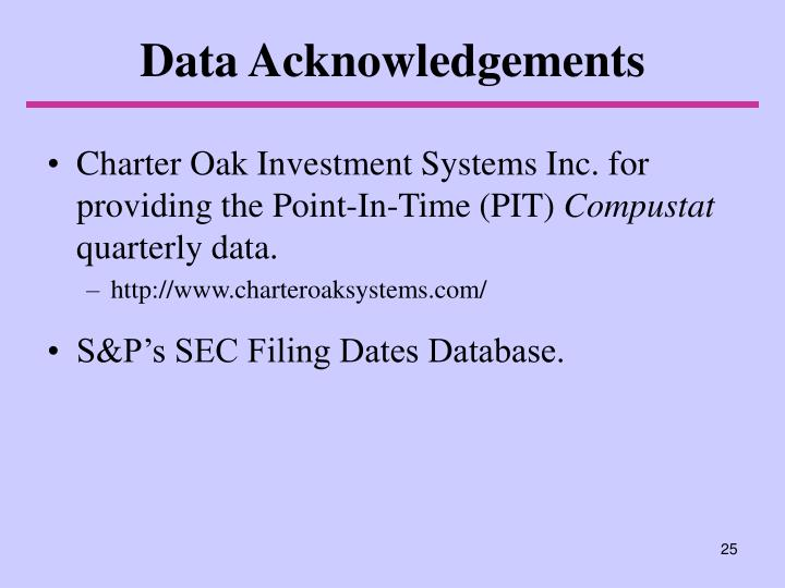 Data Acknowledgements