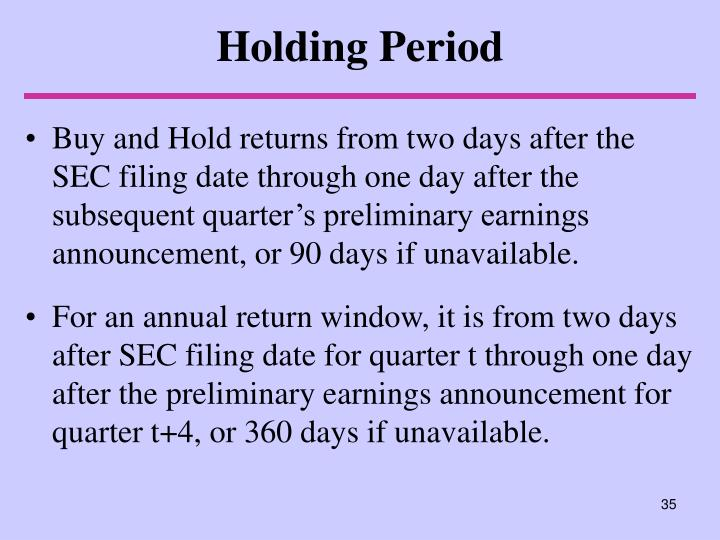 Holding Period