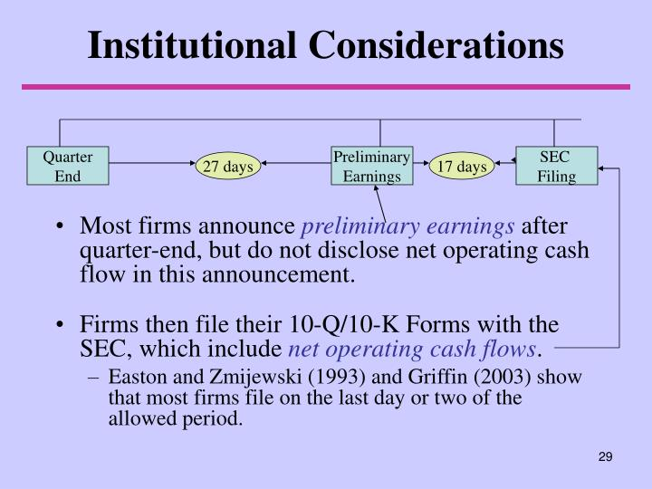 Institutional Considerations