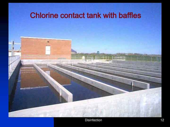 Chlorine contact tank with baffles