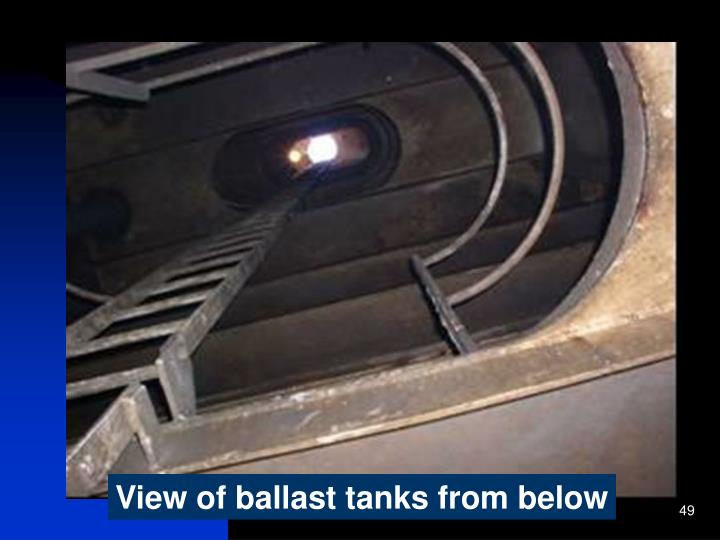 View of ballast tanks from below