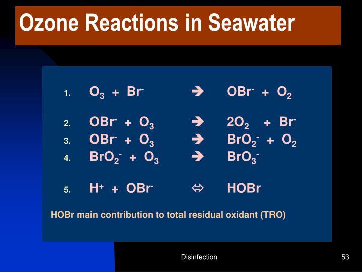 Ozone Reactions in Seawater