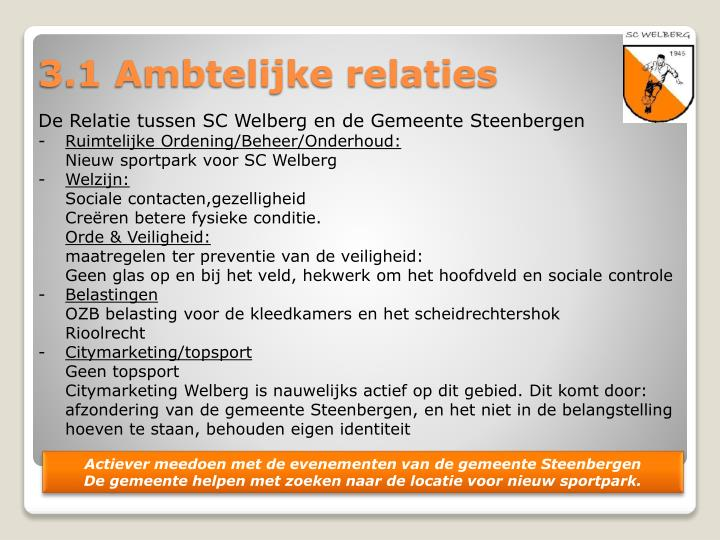 De Relatie tussen SC Welberg en de Gemeente Steenbergen