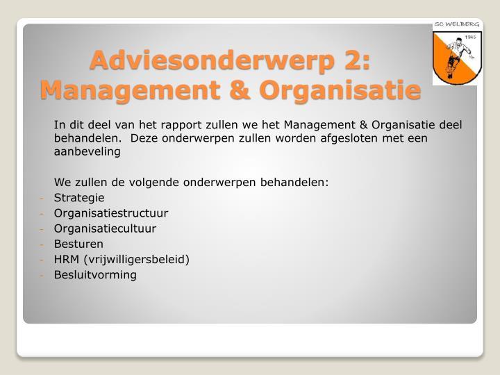 In dit deel van het rapport zullen we het Management & Organisatie deel behandelen.  Deze onderwerpen zullen worden afgesloten met een aanbeveling