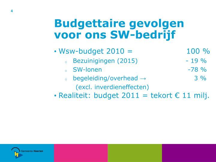 Budgettaire gevolgen voor ons SW-bedrijf
