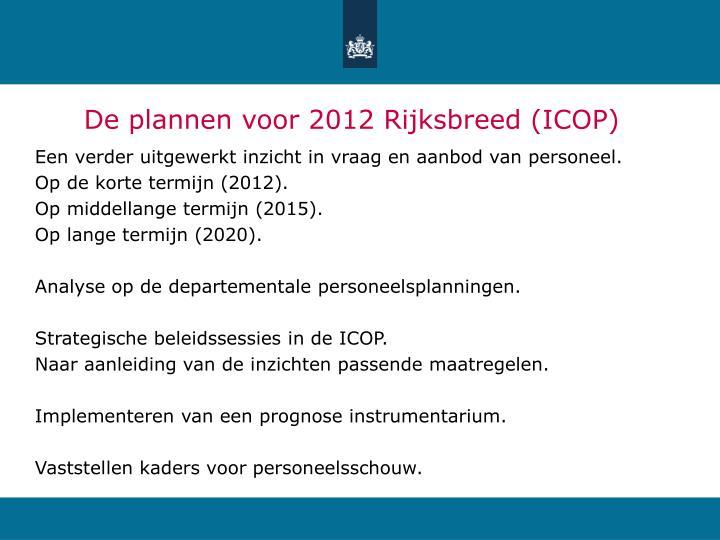 De plannen voor 2012 Rijksbreed (ICOP)