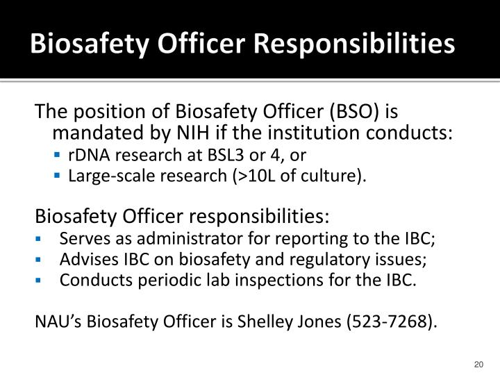 Biosafety Officer Responsibilities