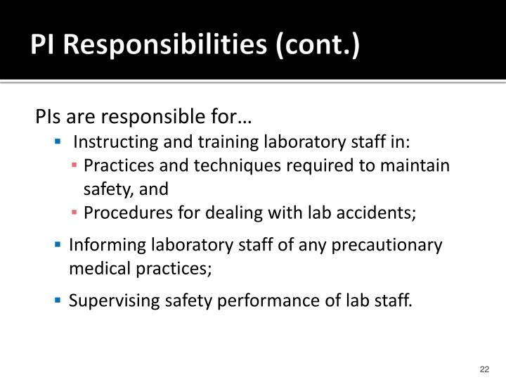 PI Responsibilities (cont.)