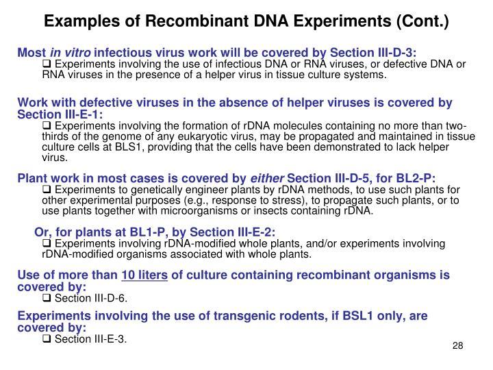 Examples of Recombinant DNA Experiments (Cont.)