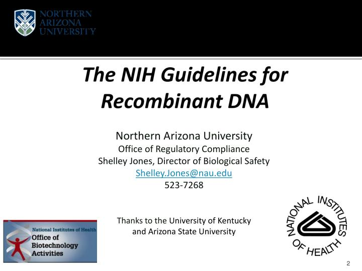 The nih guidelines for recombinant dna