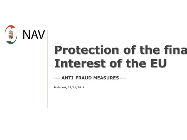 Protection of the financial