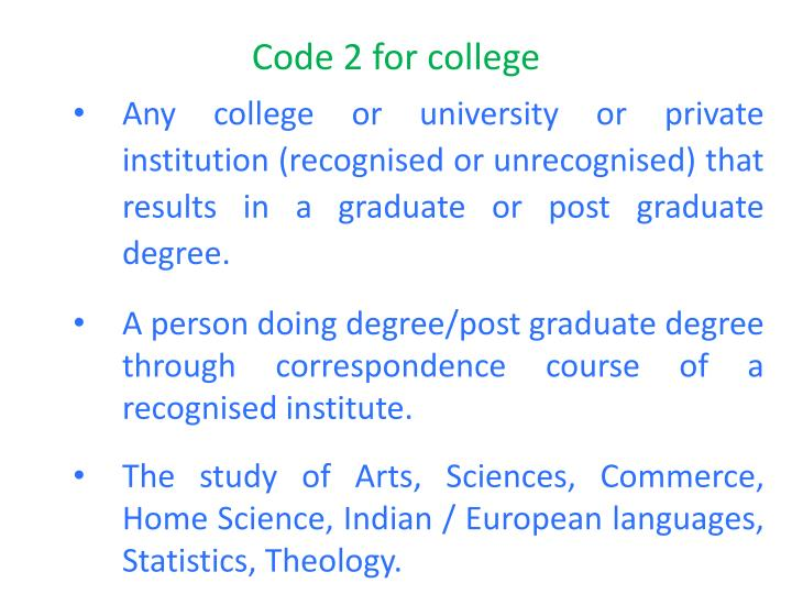 Code 2 for college
