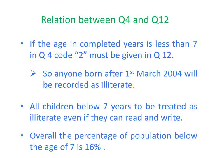 Relation between Q4 and Q12