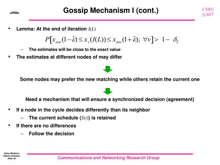 Gossip Mechanism I (cont.)