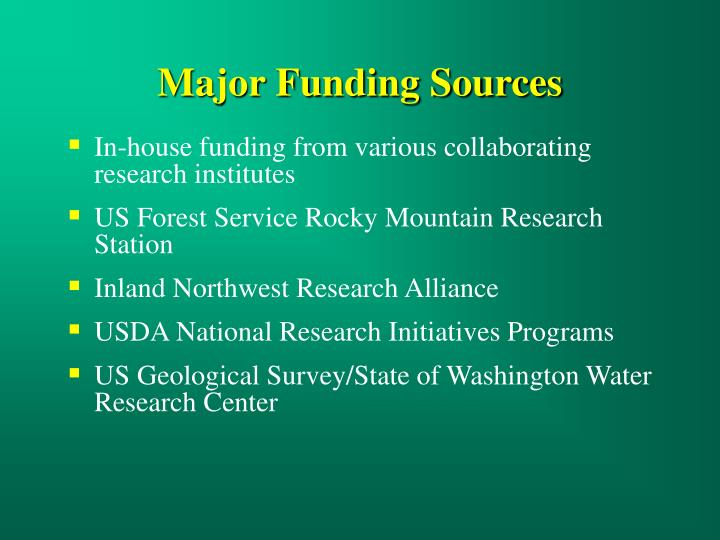 Major funding sources