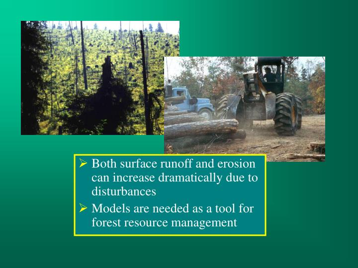 Both surface runoff and erosion can increase dramatically due to disturbances