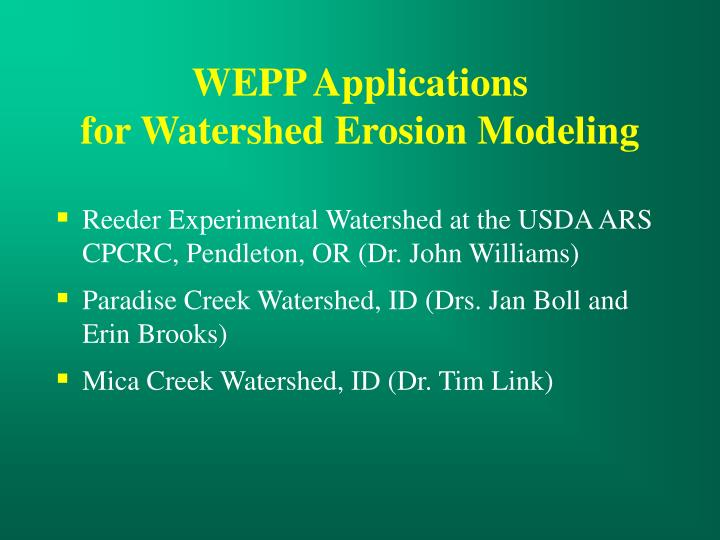 WEPP Applications