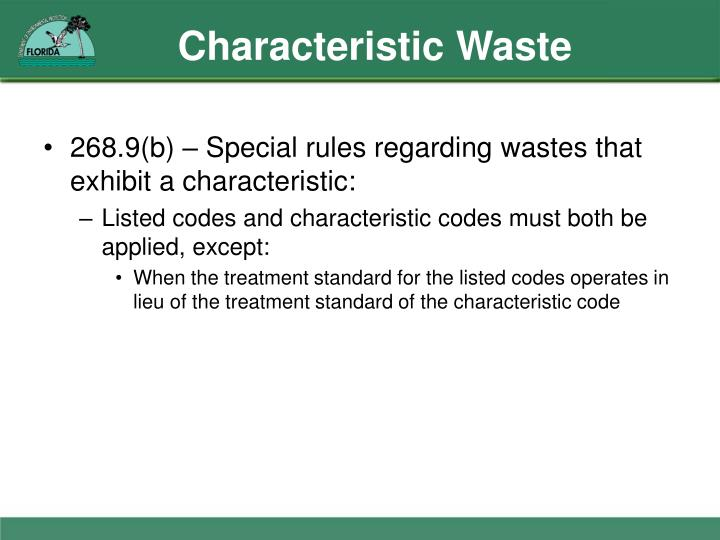 Characteristic Waste