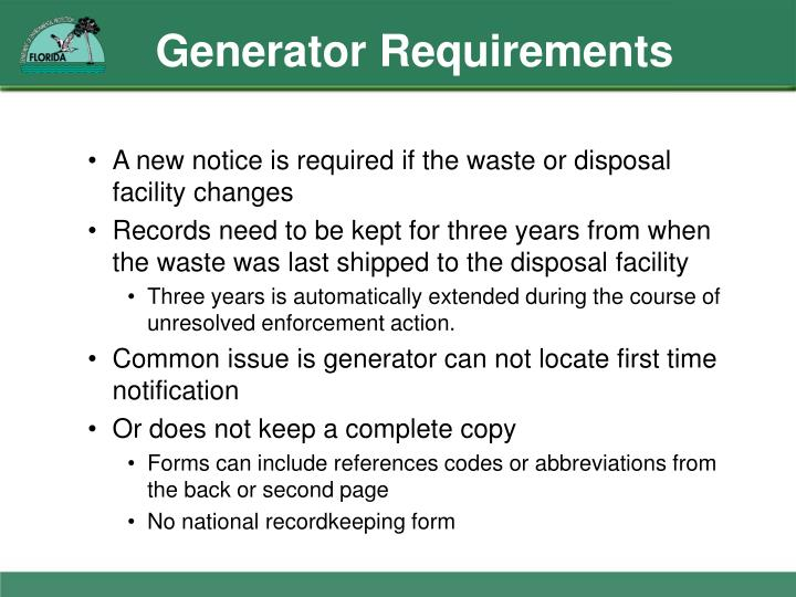 Generator Requirements