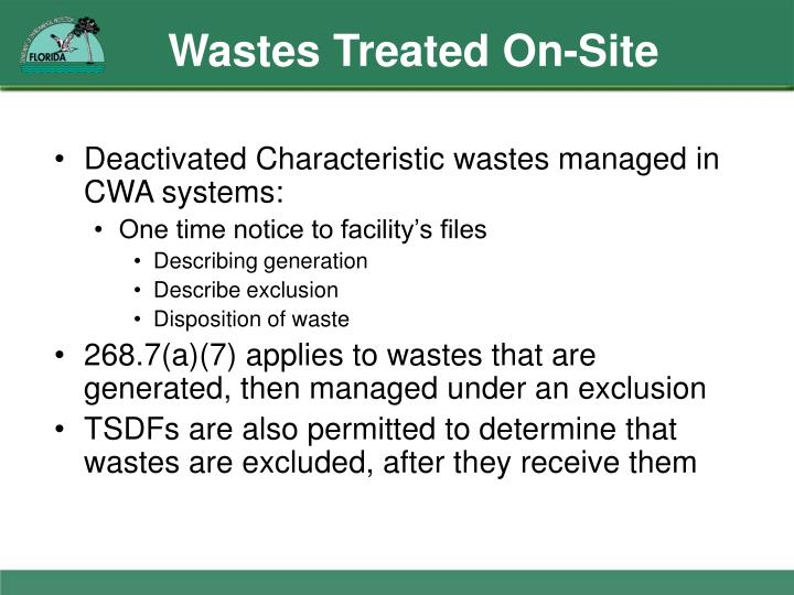Wastes Treated On-Site