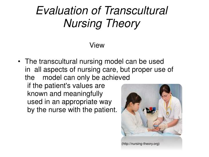 evaluation and personal application of leiningers transcultural Leininger's transcultural nursing: concepts, theories, research & practice, fourth edition offers theoretical and practical guidance about the provision of the purpose is to provide an understanding of new transcultural nursing concepts and findings, as well as the application of these to nursing.