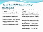 do not stand at my grave and weep gan mary frye