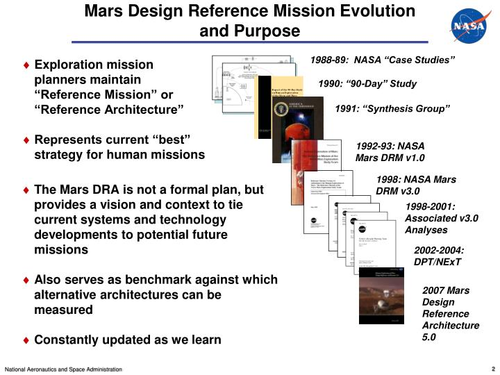 Mars design reference mission evolution and purpose