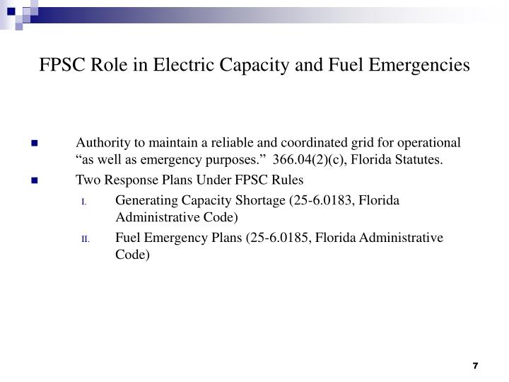 FPSC Role in Electric Capacity and Fuel Emergencies