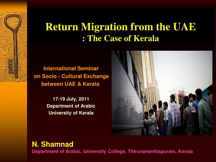 return migration from the uae the case of kerala n.