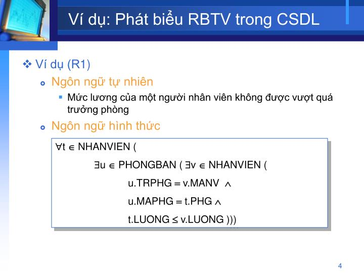 Ví dụ: Phát biểu RBTV trong CSDL