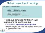 sakai project xml naming