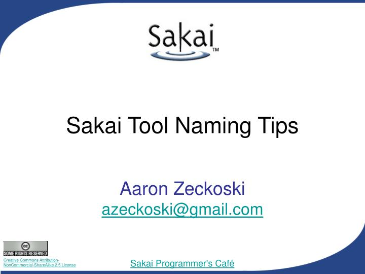 sakai tool naming tips