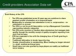 credit providers association data set