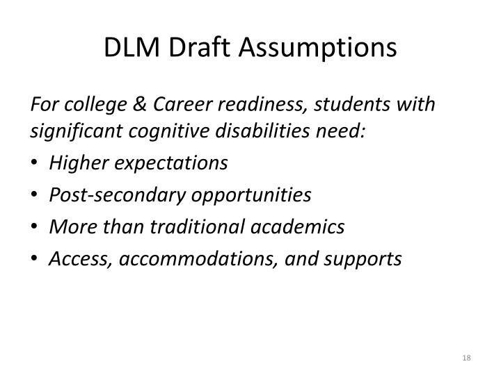 DLM Draft Assumptions