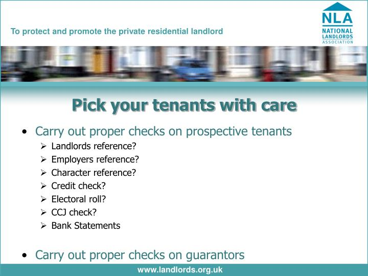 Pick your tenants with care