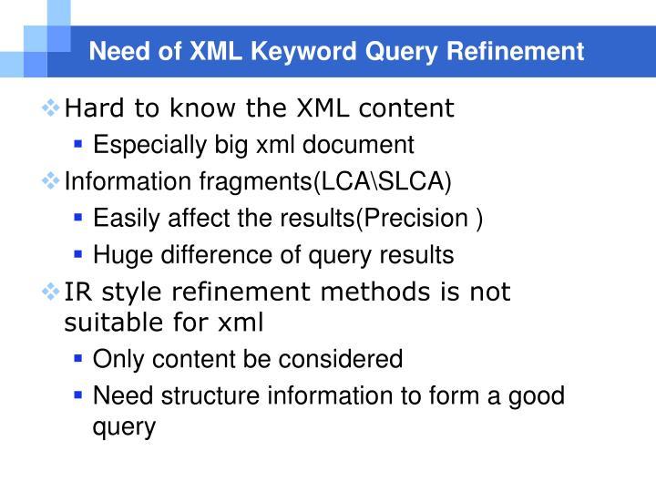 Need of XML Keyword Query Refinement