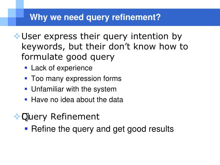 Why we need query refinement