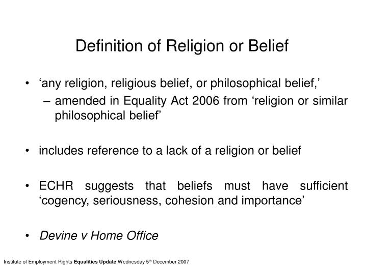Definition of Religion or Belief