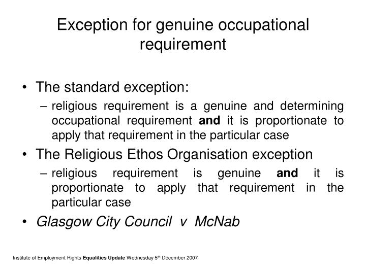 Exception for genuine occupational requirement